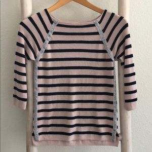 Girls metallic trim wool sweater